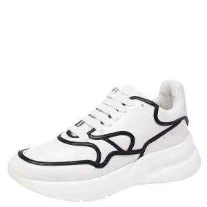 Alexander McQueen White/Black Leather Oversized Runner Sneakers Size 44