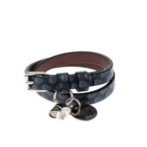 Alexander McQueen Blue Printed Leather Skull Charm Double Wrap Bracelet