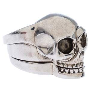 Alexander McQueen Divided Skull Silver Tone Ring Size 23
