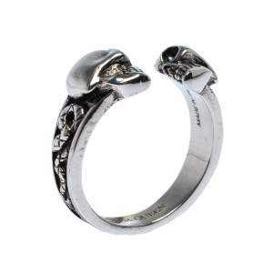 Alexander McQueen Twin Skull Silver Tone Ring Size 63