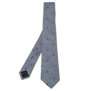 Alexander McQueen Grey Skull Silk Wool Prince of Wales Check Tie