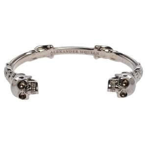 Alexander McQueen Twin Skull Motif Silver Tone Cuff Bracelet