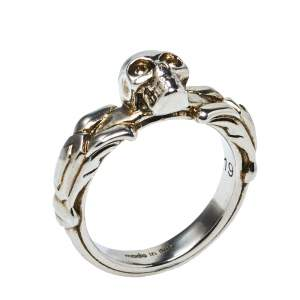 Alexander McQueen Antique Silver Textured Skull Ring IT 19