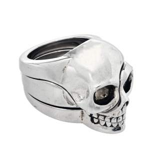 Alexander McQueen Divided Skull Silver Tone Ring Size 21