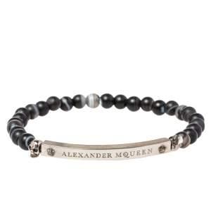 Alexander McQueen Silver Tone Skull Charm Agate Beaded Bracelet