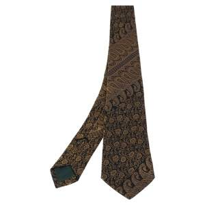 Alexander McQueen Black & Gold Paisley Patterned Silk Jacquard   Tie