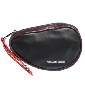 Alexander McQueen Black Leather Mini Harness Zip Pouch
