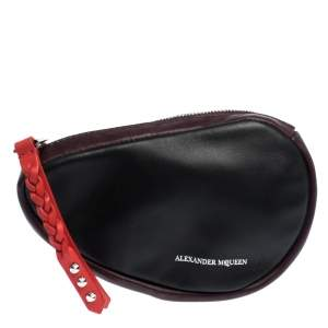 Alexander McQueen Black/Maroon Leather Mini Harness Zip Pouch