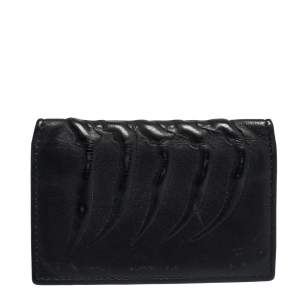 Alexander McQueen Black Leather Rib Cage Bifold Card Holder