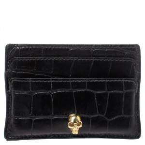 Alexander McQueen Black Crocodile Embossed Leather Skull Card Holder