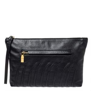 Alexander McQueen Black Ribcage Embossed Leather Wristlet Clutch