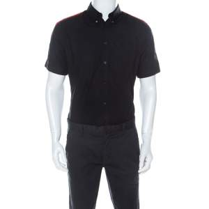 Alexander McQueen Black Cotton Red Stripe Detail Collar Stud Short Sleeve Shirt L