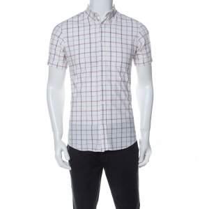 Alexander McQueen White Checked Tonal Skull Pattern Cuff Sleeve Shirt S
