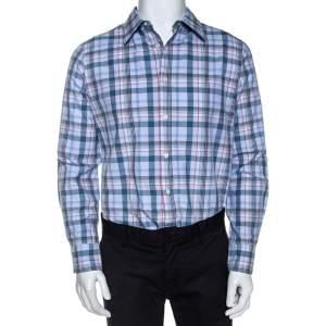 Alexander McQueen Blue Checked Cotton Button Front Shirt L