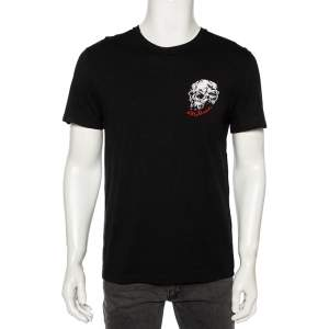 Alexander McQueen Black Printed Cotton Embroidered Logo Detailed T-Shirt M