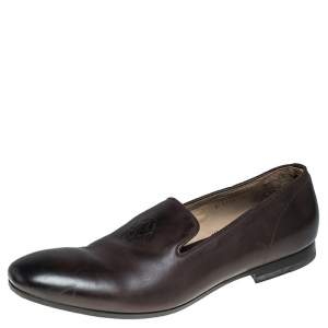 Alexander McQueen Brown Leather Skull Detail Loafers Size 44