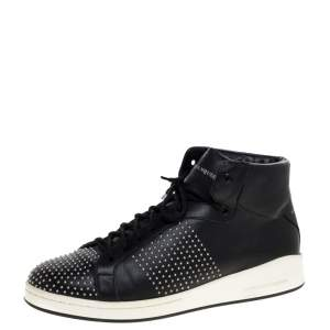 Alexander McQueen Black Leather Studded High Top Sneakers Size 41