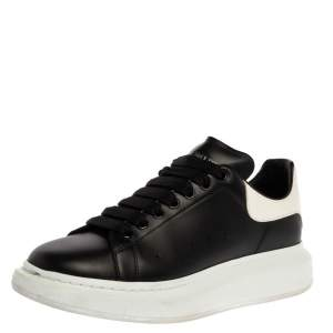 Alexander McQueen Black/White Leather Larry Low Top Sneakers Size 43