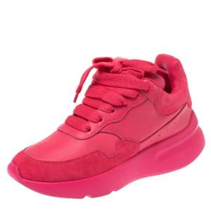 Alexander McQueen Fuchsia Leather and Suede Larry Oversized Low Top Sneakers Size 35