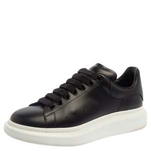 Alexander McQueen Black Leather Larry Low Top Sneaker Size 42.5