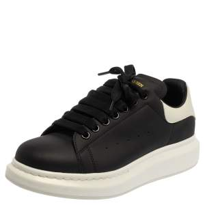 Alexander McQueen Black/White Leather Oversized Sneakers Size 43