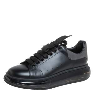 Alexander McQueen Black Leather Clear Sole Low Top Sneakers Size 42