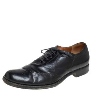 Alexander McQueen Black Leather Lace Up Brogue Oxford Size 41.5