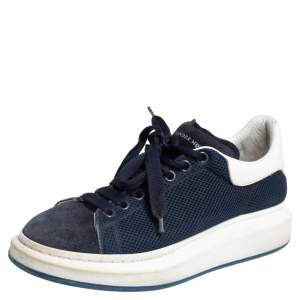 Alexander McQueen Navy Blue/White Leather, Mesh and Suede Oversized Sneakers 43