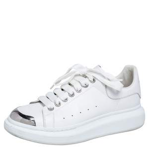 Alexander McQueen White Leather Oversized Cap Toe Low Top Sneakers Size 40
