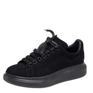 Alexander McQueen Black Suede Oversized Low Top Sneakers Size 40