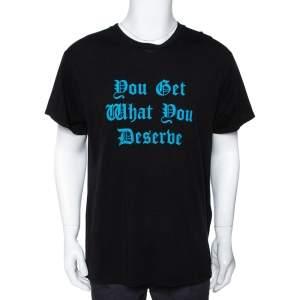 تي شيرت إميري  ديزيرف قطن مطببوع أسود وأزرق M