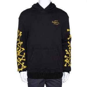 Amiri Black & Yellow Bones Print Cotton Pullover Hoodie M