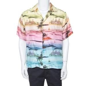 قميص أميري هاوايان أكمام قصيرة حرير طباعة بفرلي هيلز متعدد الألوان L