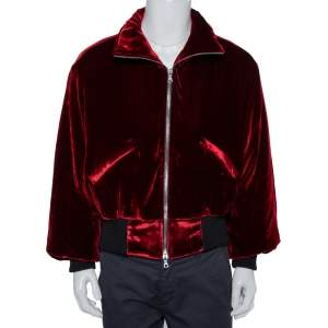 Amiri Red Velvet Zip Front Oversized Jacket XS