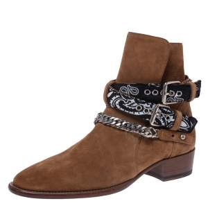 Amiri Camel Suede Chain Link Embellished Bandana Buckle Ankle Boots Size 42
