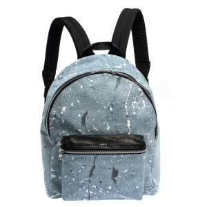 Amiri Wash Blue/Black Paint Denim and Leather Splatter Backpack