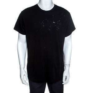 Amiri Black Cotton Rib Knit Shotgun T-Shirt M