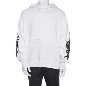 Amiri White Knit Glitter Dagger Detail Hooded Sweatshirt S