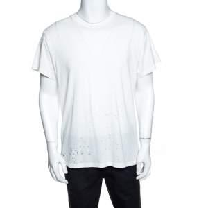 Amiri Off White Cotton Rib Knit Shotgun T-Shirt M