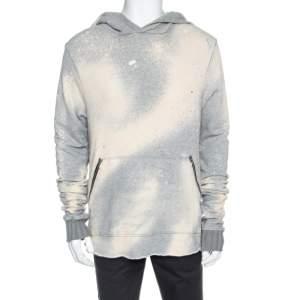Amiri Grey Knit Dyed Effect Distressed Shotgun Hooded Sweatshirt M