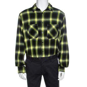 قميص اميري مربعات نمط باهت قطن أسود و أصفر نيون M