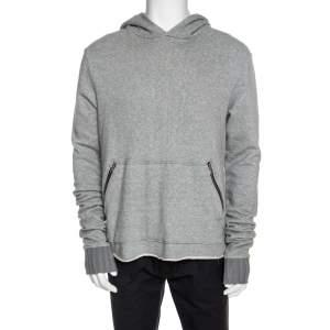 Amiri Grey Cotton Rib Knit Cuff Detail Hooded Sweatshirt M