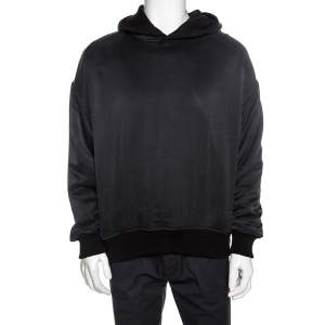 Amiri Black Silk & Cotton Knit Reversible Oversized Hooded Sweatshirt M