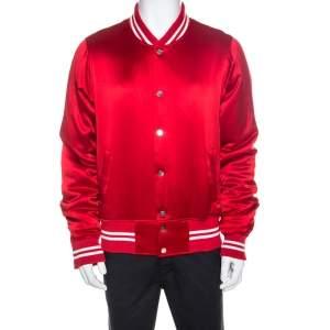 Amiri Red Silk Rib Knit Trimmed Bomber Jacket XL
