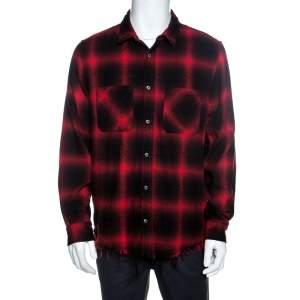 Amiri Bicolor Highlight Plaid Flannel Raw Edged Shirt XL