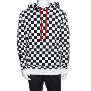 Amiri Monochrome Checked Cotton Jersey Hoodie L