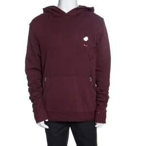 Amiri Burgundy Knit Distressed Shotgun Hooded Sweatshirt M