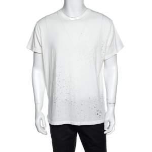 Amiri Off White Distressed Cotton Shotgun T-Shirt M