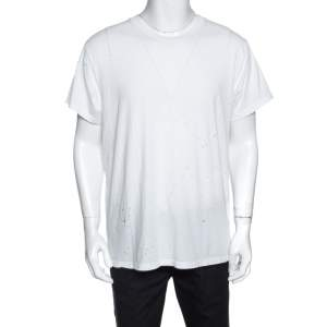 Amiri White Distressed Cotton Shotgun T-Shirt M