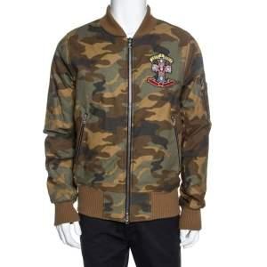 Amiri Brown Camo Print Cotton Applique Detailed Bomber Jacket L